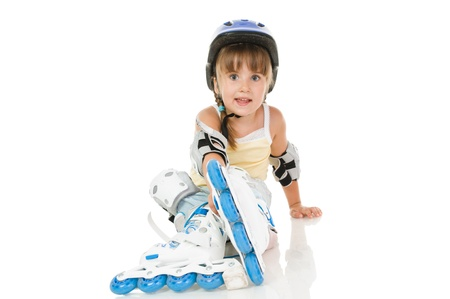 girl four years old with roller and gear resting Stock fotó
