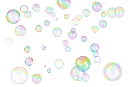 photo of soap bubbles with rainbow gradient on white