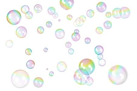 bulles de savon: photo de bulles de savon avec arc en ciel d�grad� sur blanc Banque d'images