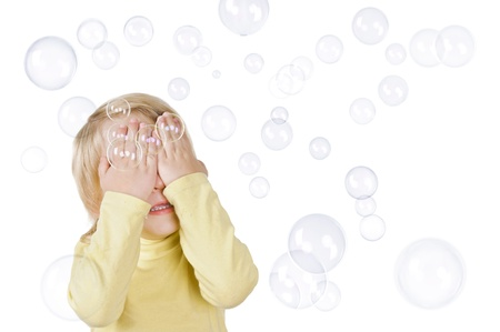 little boy clothes from soap bubbles on white background Stock Photo - 16859699