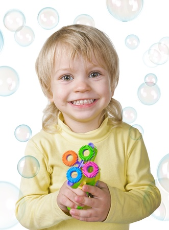little boy with bubbles gun on white background Stock Photo - 16859711