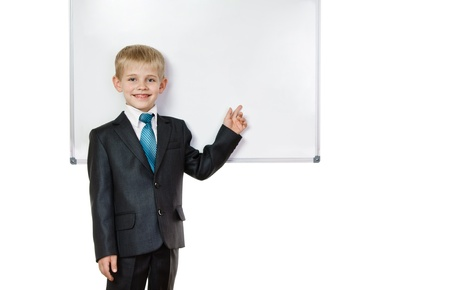 exemplary: school boy about the board on white background
