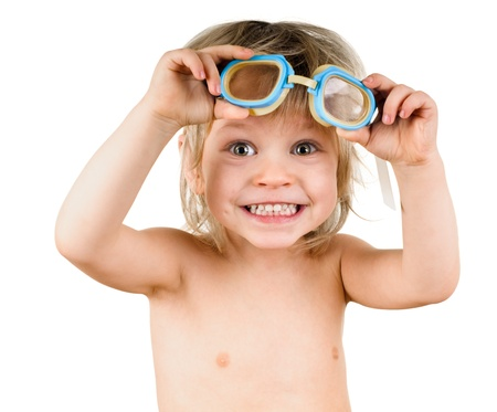 little boy in glasses for swimming on white Stock Photo