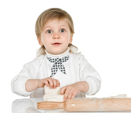 rollingpin: boy scullion with rolling-pin on white