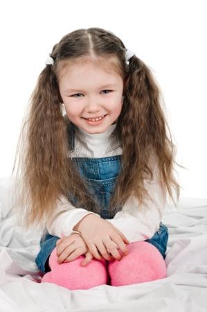 five years old: Ritratto di bambina di cinque anni su bianco Archivio Fotografico