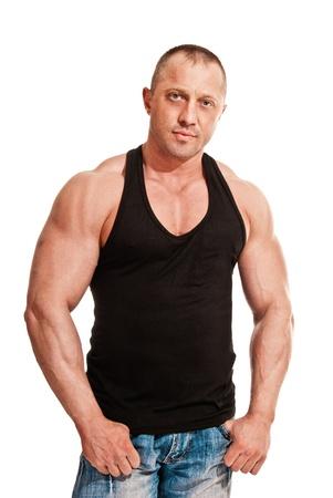 portrait of body-builder man on white background photo