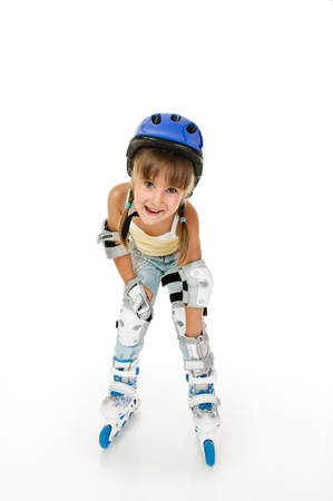 rollerskater: girl four years old with roller and gear resting