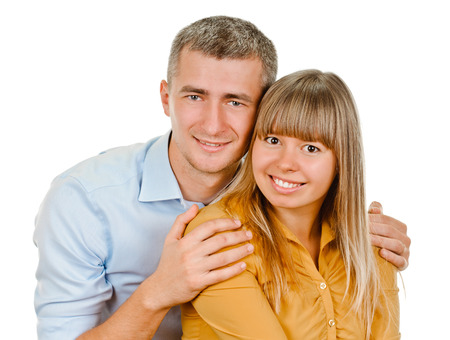 portrait of young couple on white background photo
