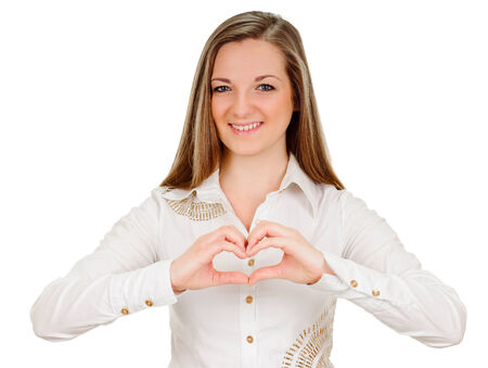 young woman shows sign and symbol by hands on white background photo