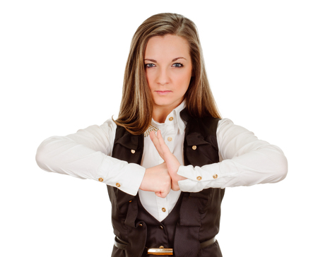 young woman showing negative sign on white  photo