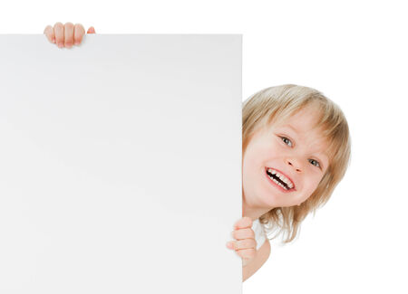 little boy with copy space desk on white background photo