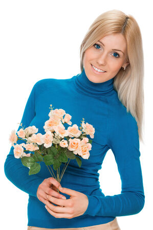 beautiful smiling woman with bouquet of flowers isolated on white background photo