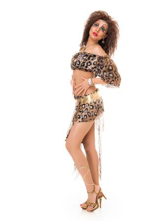 Beautiful Wild Fashion woman. art make up full length. white background photo