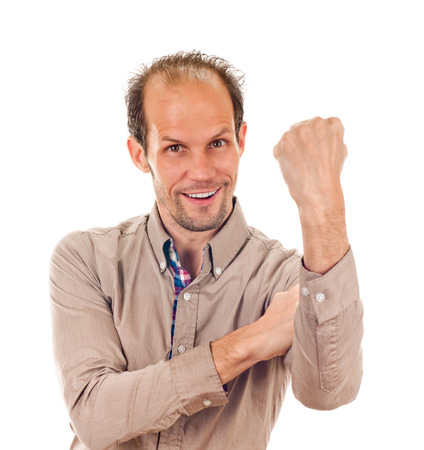 insulting: young man showing cubital sign  Synonym sign of middle finger Stock Photo
