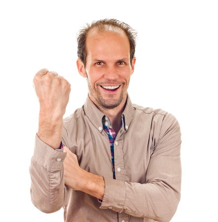 fucking: young man showing cubital sign  Synonym sign of middle finger Stock Photo