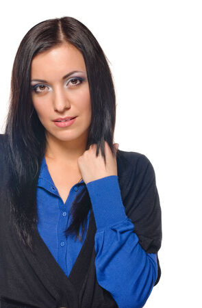 Beautiful woman portrait on the white background photo