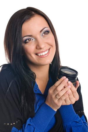 Studio photo brunette girl with a lens photo