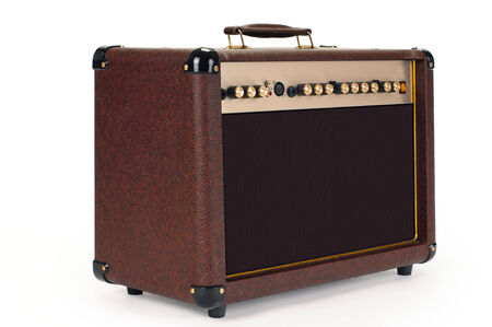 whole guitar amplifier on white background isolated photo
