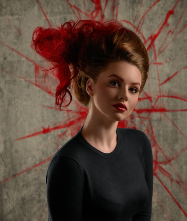 Lady with avant-garde hair and bright make-up on texture background photo