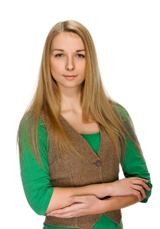 portrait of beautiful blonde young woman with nice look. On white photo