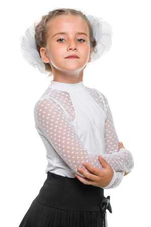 Little schoolgirl portrait in dress isolated on white photo