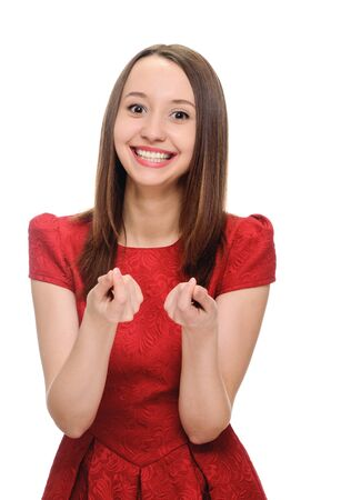 money symbol: young woman showing sign symbol of money by fingers