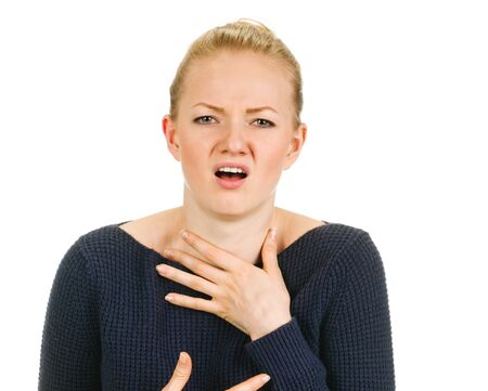 terribly: woman shows sign asphyxiation. Emotional on white background Stock Photo
