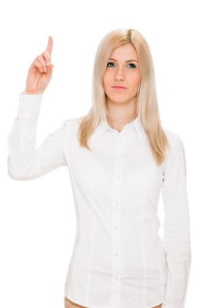 brainy: Eureka. Beautiful woman with an idea raising her finger in the air. portrait on white