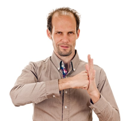 elated: man cheering, raising his clenched fist arm. isolated on white Stock Photo