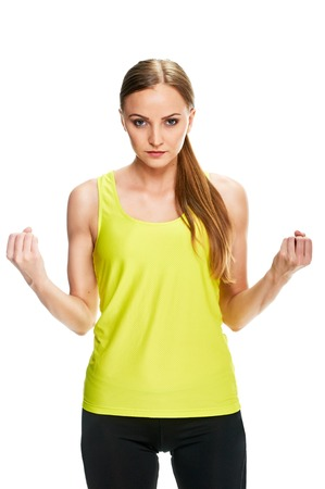 cheerfully: Cheerfully smiling woman doing exercise , isolated on white background Stock Photo