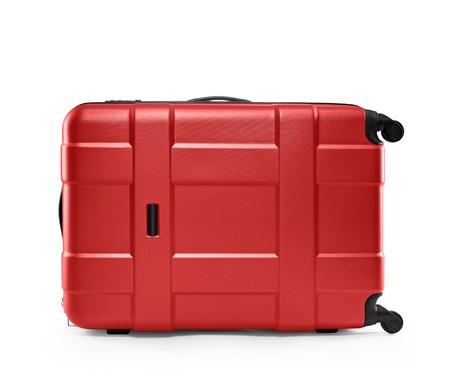 maleta: una maleta de color rojo aisladas sobre un fondo blanco Foto de archivo