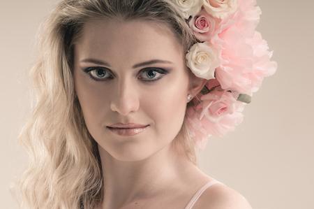 tender: Tender floral beauty portrait of girl with tender roses