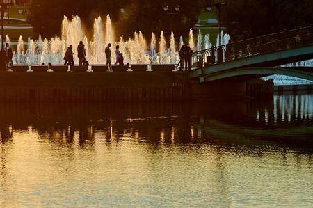tsaritsyno: Bridge and fountain in garden Tsaritsyno Park Moscow Russia East Europe. summer sunset