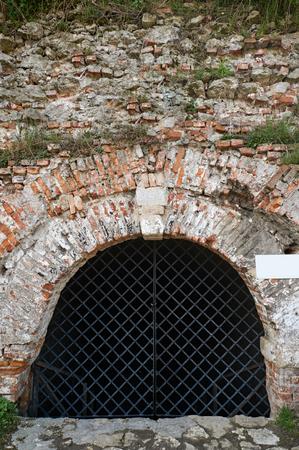back gate: Back drop brick wall with gate. Ukraine Dubno Carpathian Stock Photo