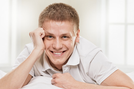 goodlooking: Goodlooking young man home on white background Stock Photo
