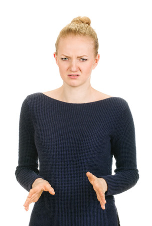 woman shows negative sign. Emotional on white background