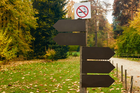 walking pole: Sign pole with arrows at the crossroad of the walking alleys of a park and no smoking