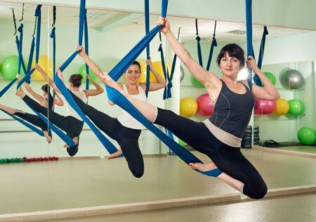 Women exercising yoga Stock Photo