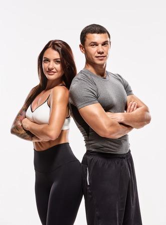 Happy team of bodybuilders