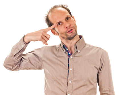 Making a mad gesture Stock Photo