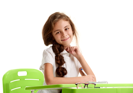 Smiling pretty girl studying
