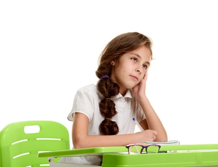pensive girl on lesson