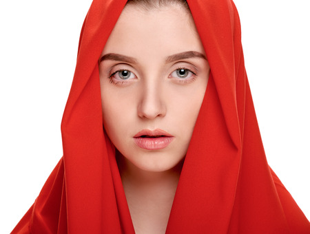 Girl in red shawl