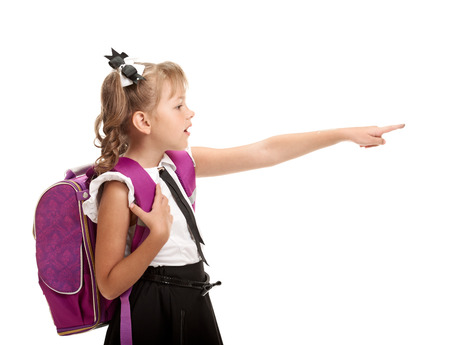 study: Schoolgirl with bag pointing