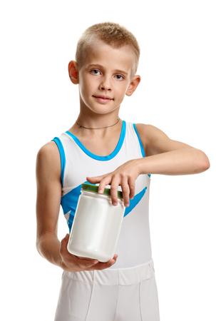 Advertising bodybuilding supplement Stock Photo