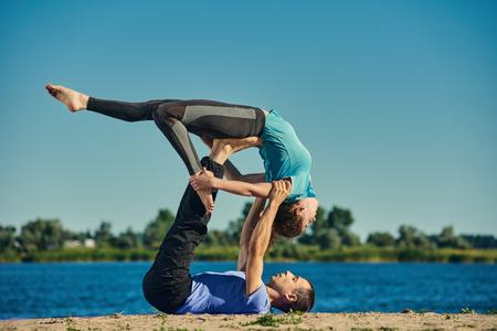 acrobatics: Pair yoga outdoor