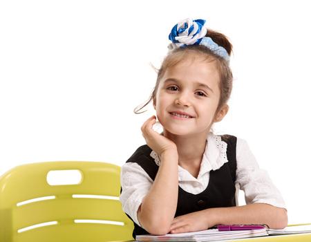 Little girl at the desk