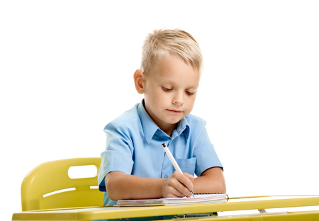 Schoolboy writing on lesson