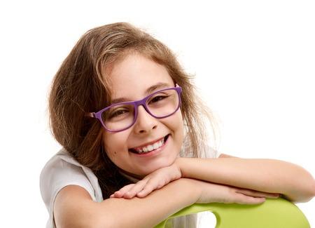 portrait Cute schoolgirl in glasses
