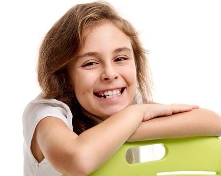 Beautiful female pupil smile Stock Photo